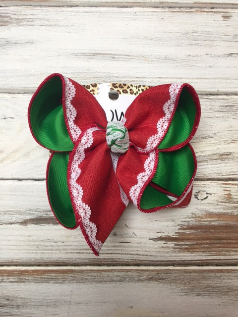 New Red Denim Lace Christmas Hairbow