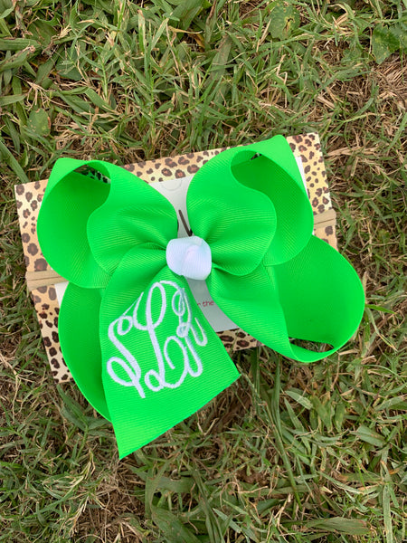 Copy of Neon Bows with Triple initial Monogram Oh MY! Choose your bow ~Perfect Spring + Summer + Pool Bows~  Hairbows