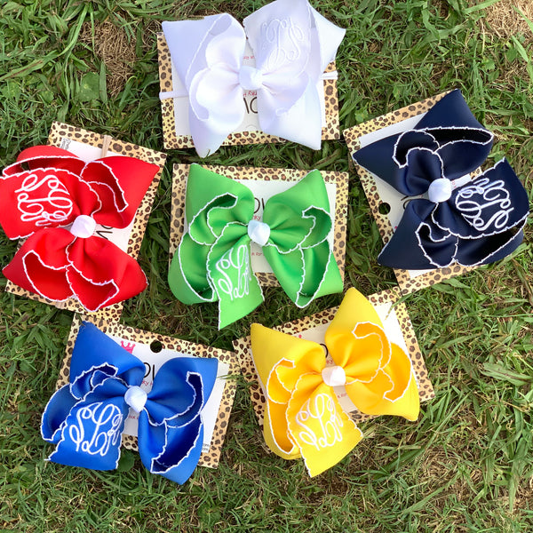 Moon-Stitch Bows with Triple initial Monogram Oh MY! ~Perfect School Bows~ School Time Hairbows