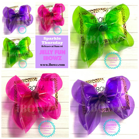 JELLY Bundle ! HOT PINK, PURPLE, APPLE ~ Jellies  Fun iBOWZ~ Translucent & Waterproof  Hairbows in several Fun Colors ~ iBOWZ Fun & Funky Hairbows
