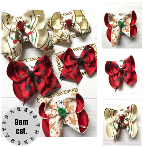 "Bundle "" Oh Christmas Trail"" Reindeer, Buffalo Plaid & Gingerbread Men  ~ iBOWZ Fun & Funky Hairbows"