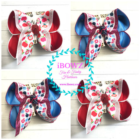 Apple Bundle ~ 2 Pack of Apple School in Red & Blue iBOWZ ~ Sparkle Thursday ~ New & Limited Release