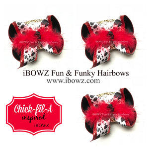 Chick-fil-A Fun iBOWZ ~ Cow Print | Red Glitter | Available in all bow sizes