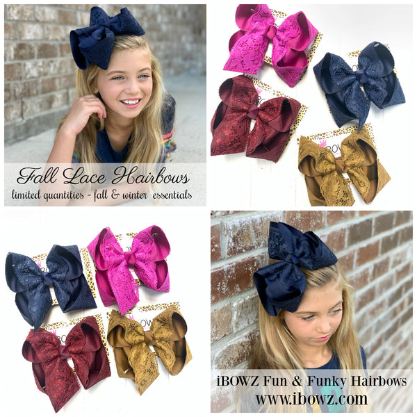 Fall Lace Bundle ~ Navy, Rust, Cranberry & Festive fuchsia ~iBOWZ fun & funky hairbows