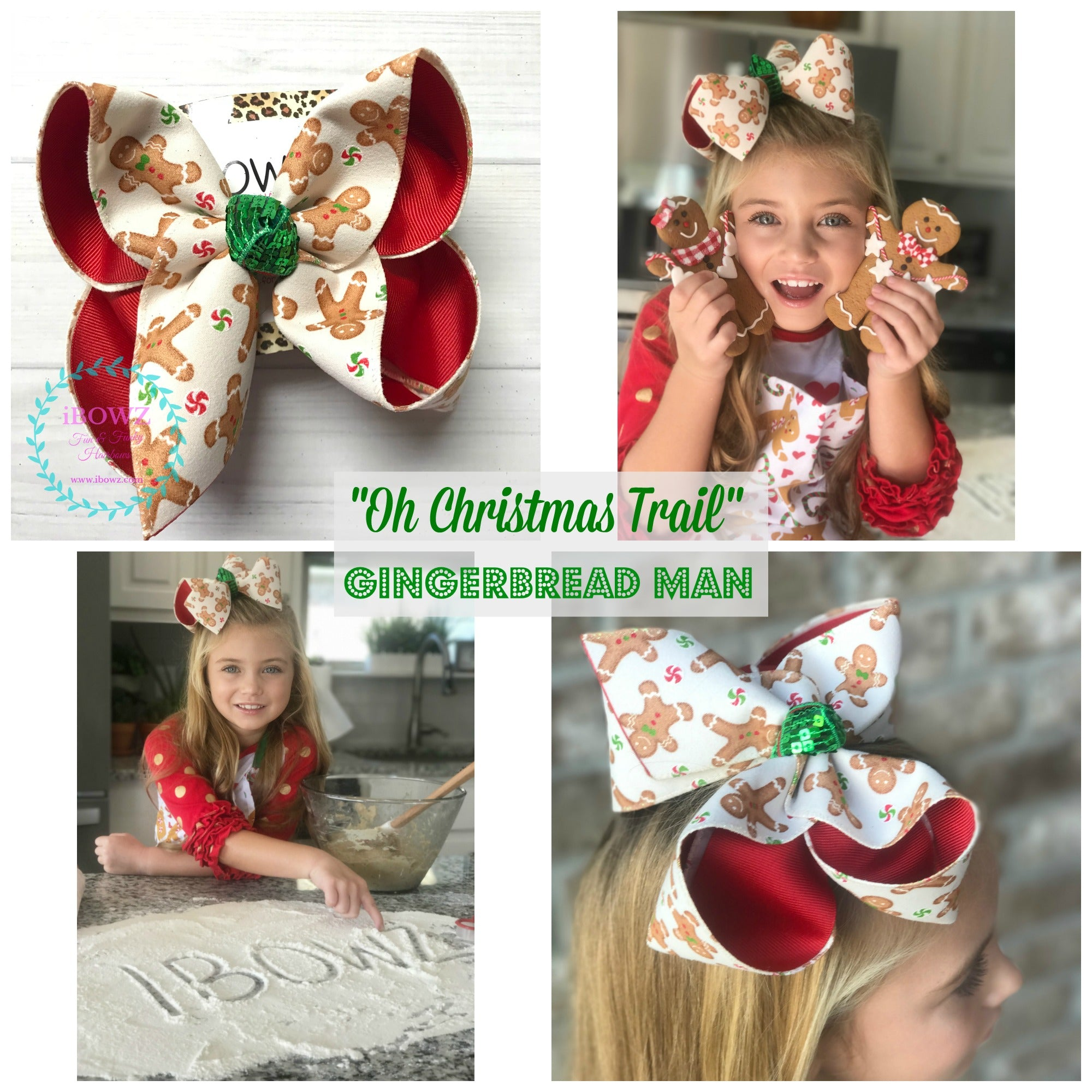 "Glittery Gingerbread Men  ~ "" Oh Christmas Trail"" Collection ~ iBOWZ Fun & Funky Hairbows"