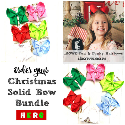 Christmas Solid Bundle ~ Perfect Match for all your Favorite clothing brands~ iBOWZ Fun & Funky Hairbows