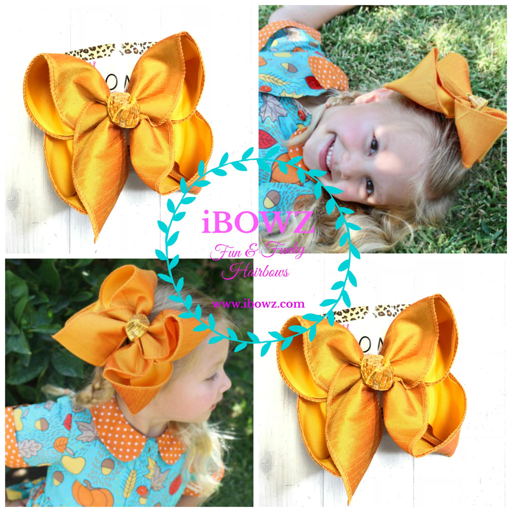 Marigold Silk Dressy Fall iBOWZ | Hairbow | Baby bow | Big Mega Bow