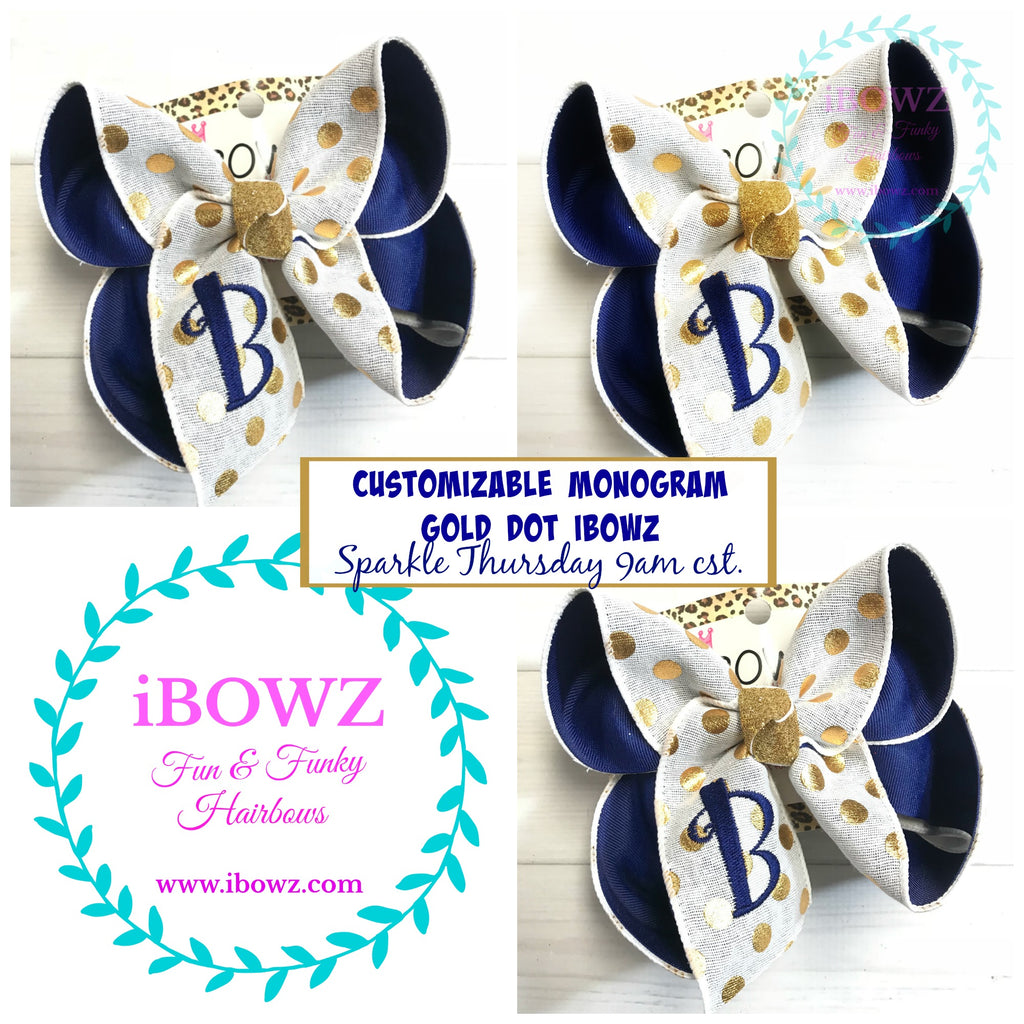 Customizable Monogram Gold Metallic Dots Fun iBOWZ ~ Sparkle Thursday ~ New Limited Release