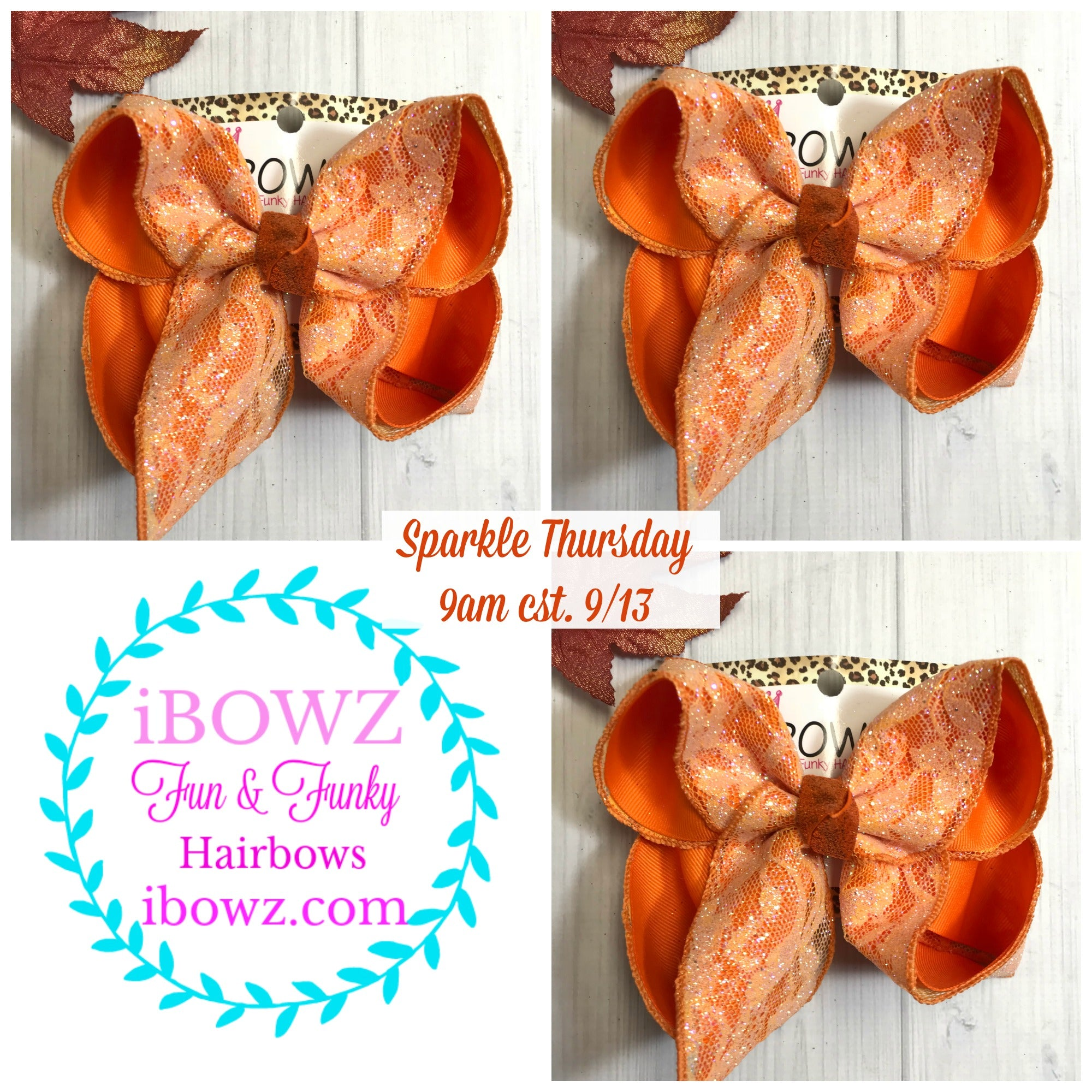 Sparkle Thursday Orange Glitter Lace Fun iBOWZ | Halloween Lace