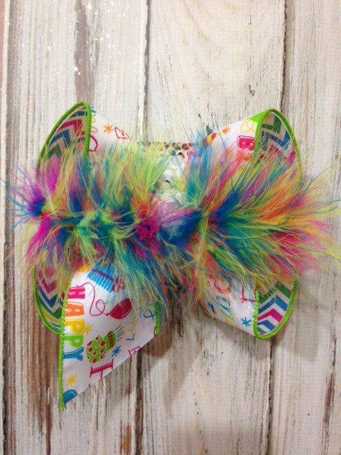 iBOWZ NEW LIMITED ~ HAPPY BIRTHDAY MULTI COLOR/WHITE ON RAINBOW CHEVRON