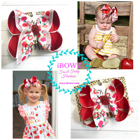 School Fun bow ~ Oh so cute Apple Print  ~iBOWZ Fun & Funky hairbows