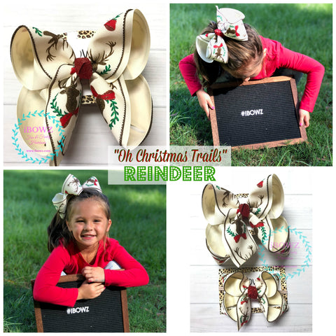 "Glitter Reindeer with bow ~ "" Oh Christmas Trail"" Collection ~ iBOWZ Fun & Funky Hairbows"
