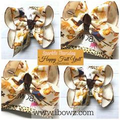 Happy Fall Y'all Collection ~ Scarecrow Fun iBOWZ~ LARGE & XLG Size only