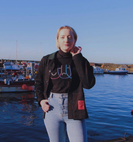 Ruth by the Leith docs showing off her new custom ReJean jacket