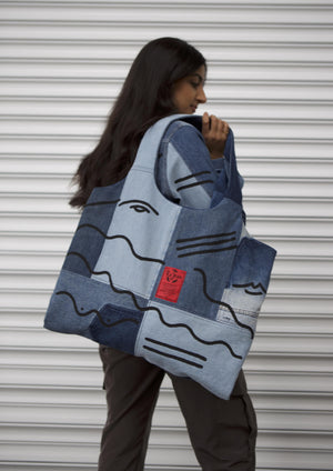 Open image in slideshow, ADW X RJ  Oversized  Denim Shopper Bag - ReJean Denim - zero waste - circular fashion brand