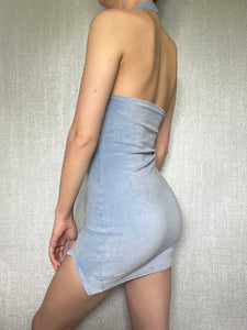 Sample Sale Pale Blue Velour Mini Dress