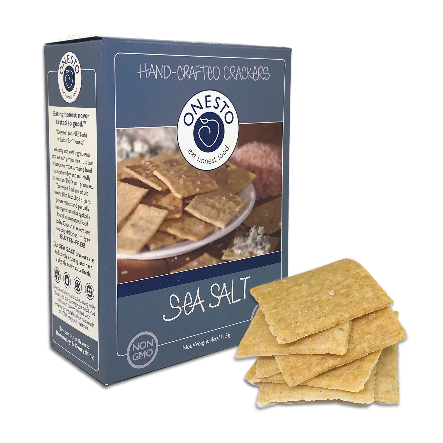 Onesto Foods - Onesto Foods Sea Salt Crackers - Retail Pack