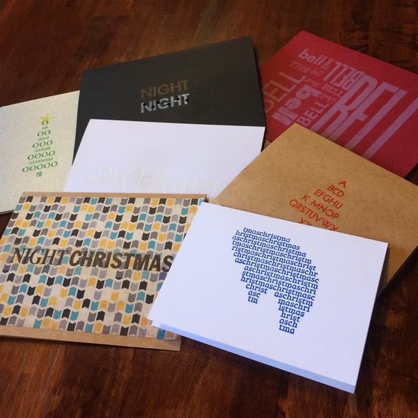 Letterpress - Cryptic Carol (SET OF 7) - Christmas Cards