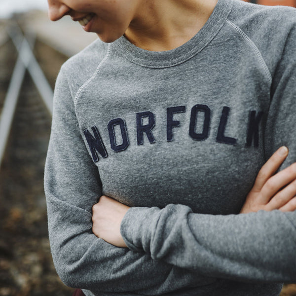 Norfolk Appliqué Sweatshirt - Grey with Navy
