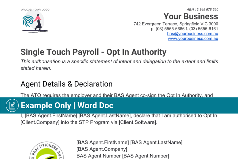 Single Pay Event Authority (STP) | Template | Authorisation to Act
