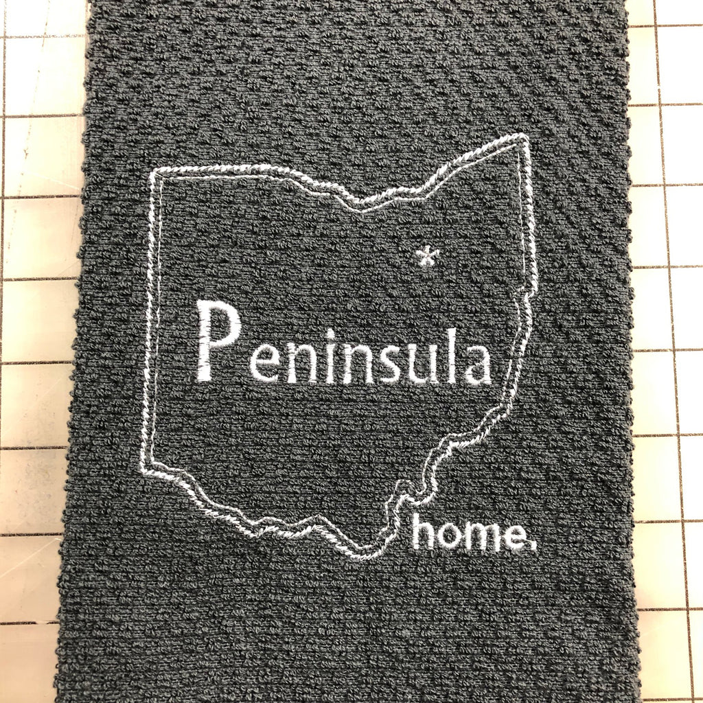 Peninsula Ohio Grey Custom Embroidered Hand Towel