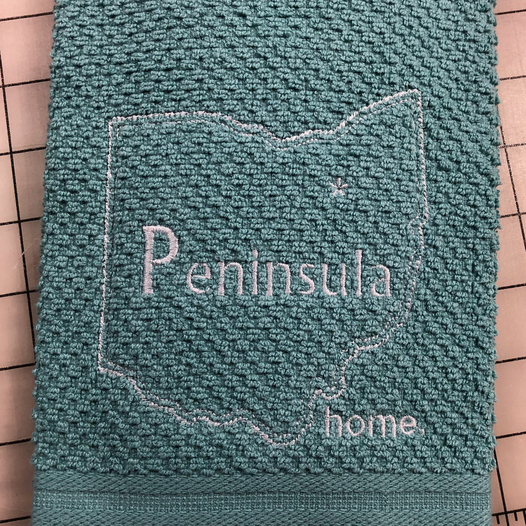 Peninsula Ohio Green Custom Embroidered Hand Towel