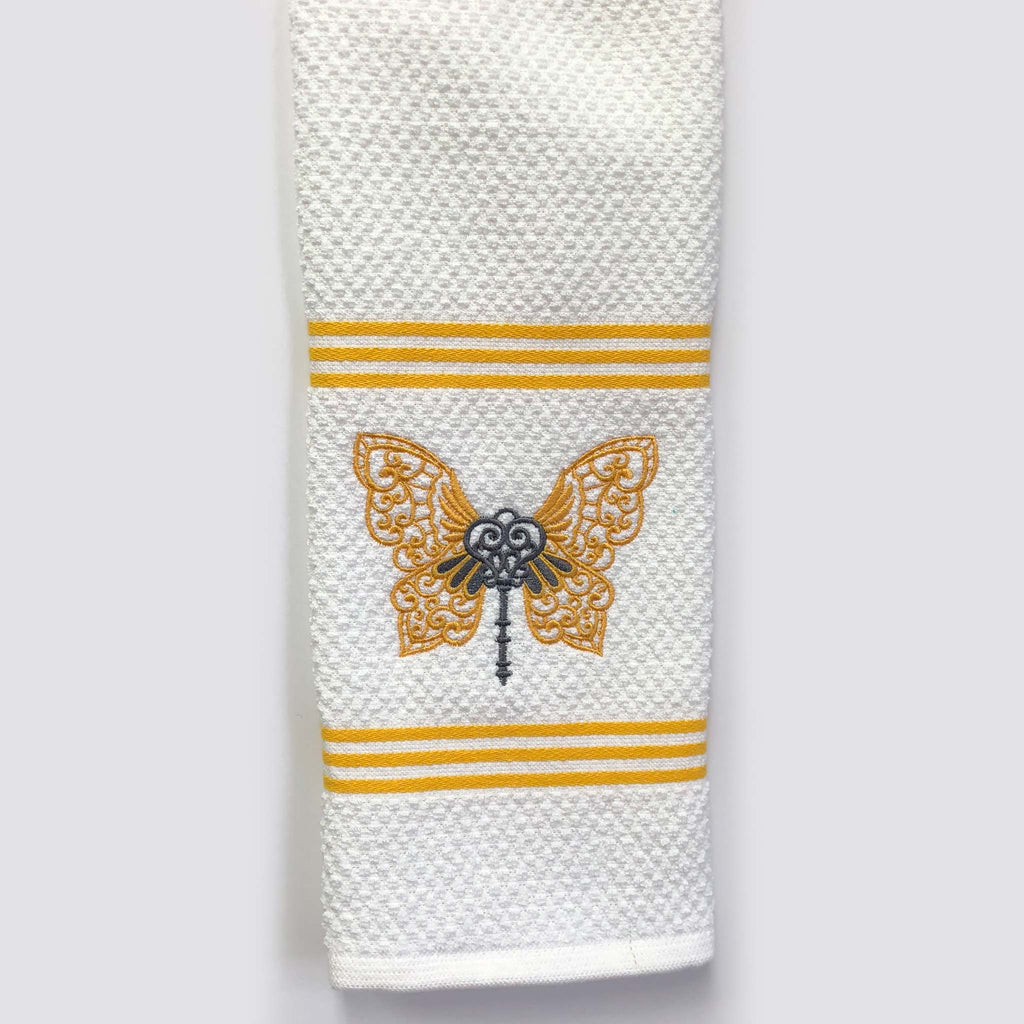 Butterfly Key Custom Embroidered Hand Towel