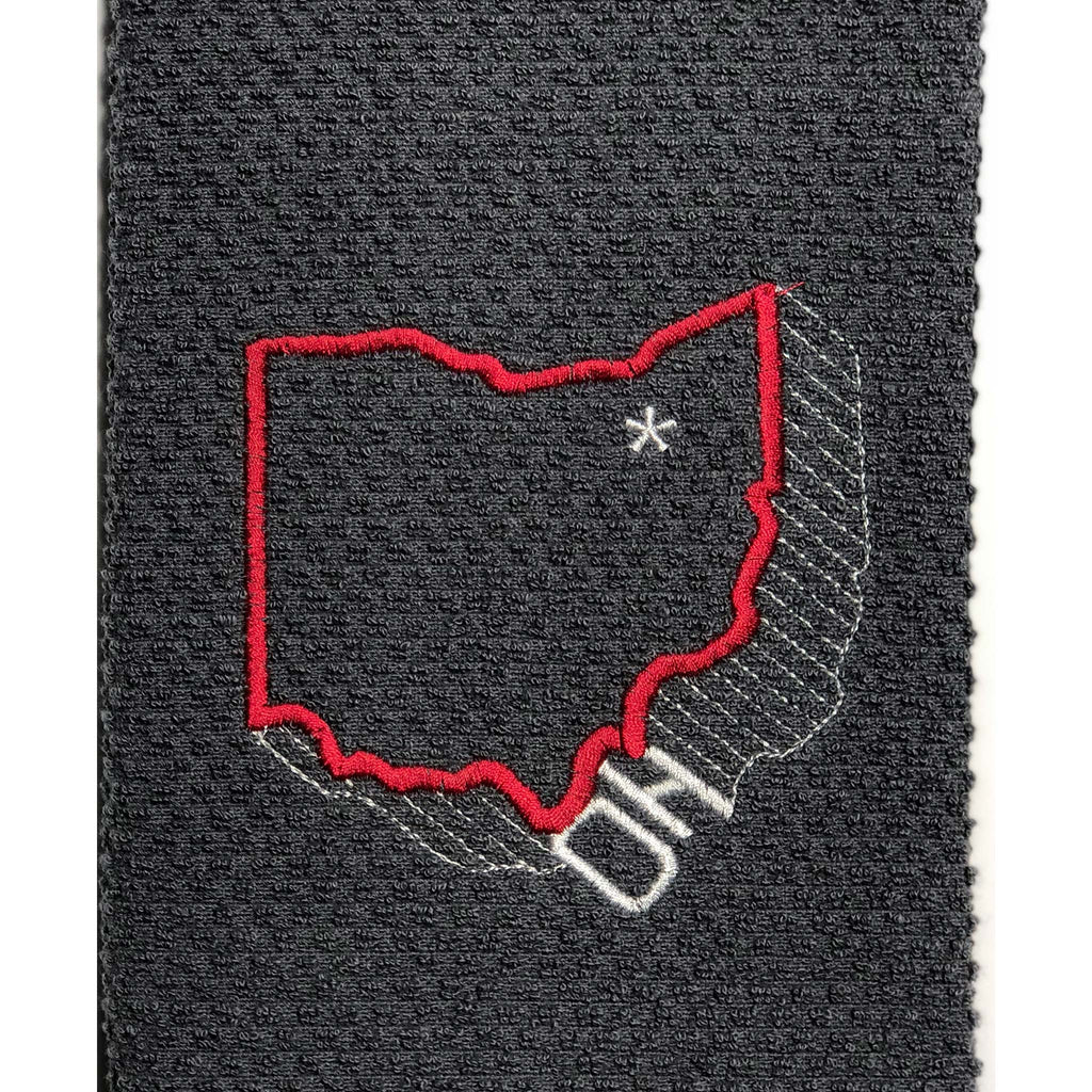 Ohio Red On Grey Background Custom Embroidered Hand Towel