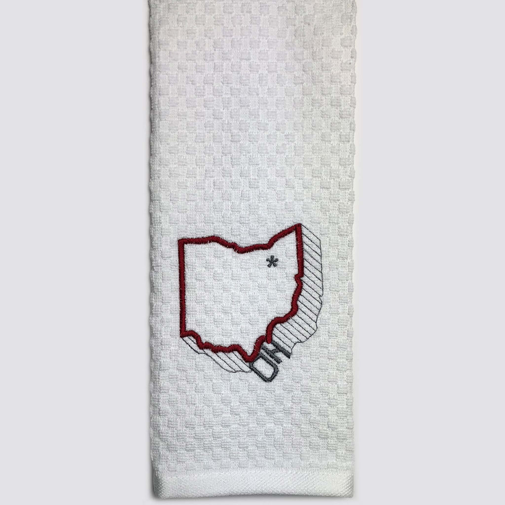 Ohio Outline Red Custom Embroidered Hand Towel
