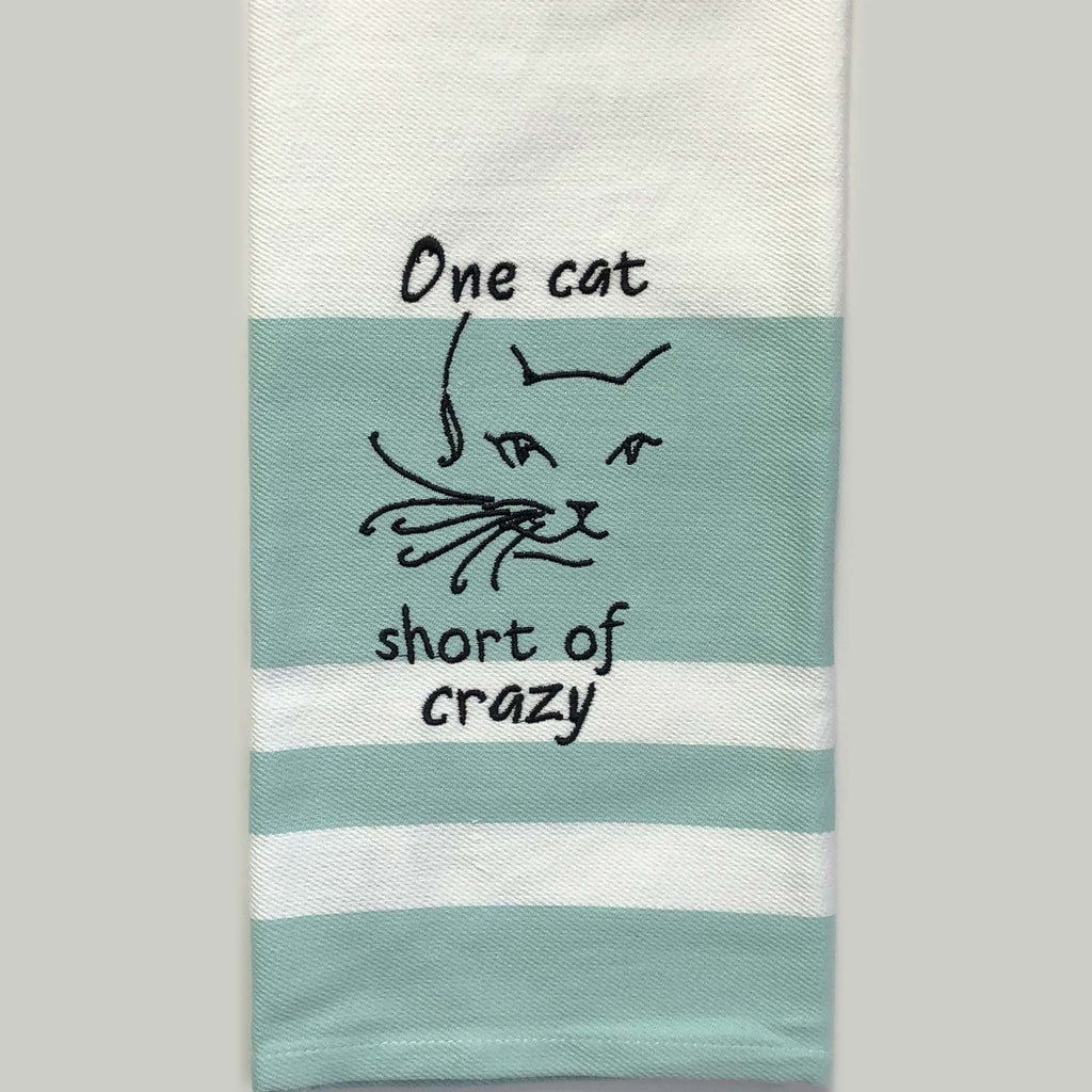 One Cat Short of Crazy Custom Embroidered Hand Towel