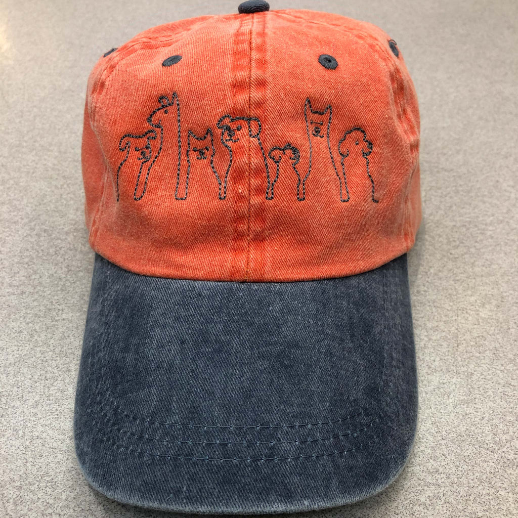 Orange Dog Silhouette Custom Embroidered Hat