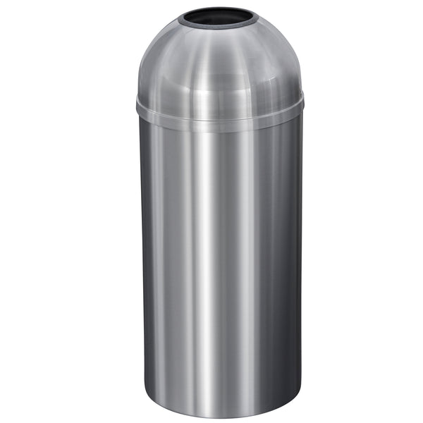 Waste Receptacle - Satin Aluminum - Open Dome Top