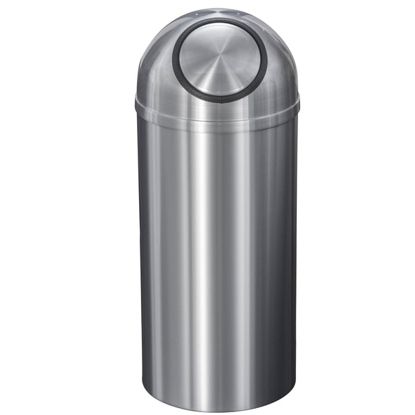 Waste Receptacle - Satin Aluminum - Dome Top