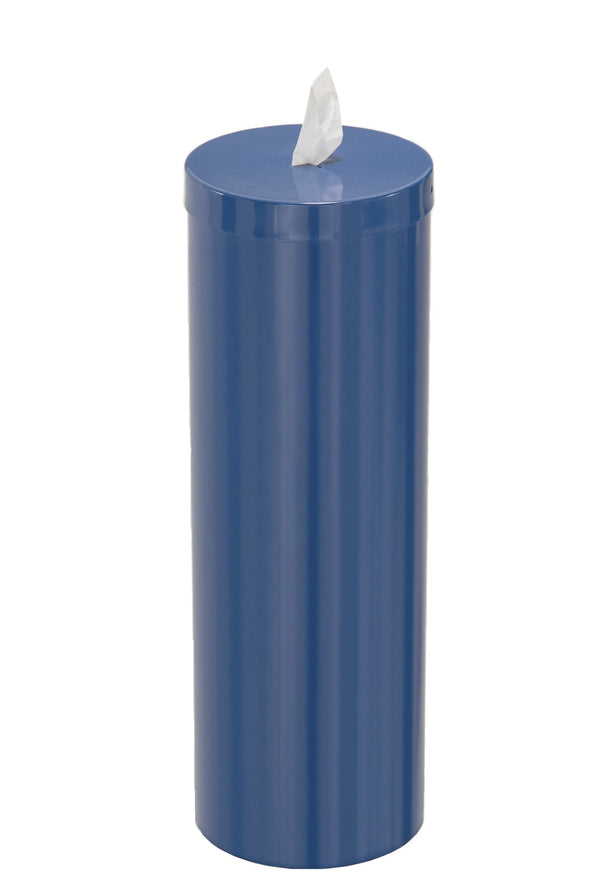 Free standing antibacterial wipe dispenser with storage for extra wipe rolls