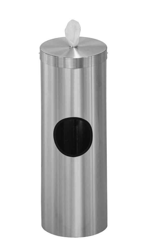Free standing antibacterial wipe dispenser/receptacle with removable liner can