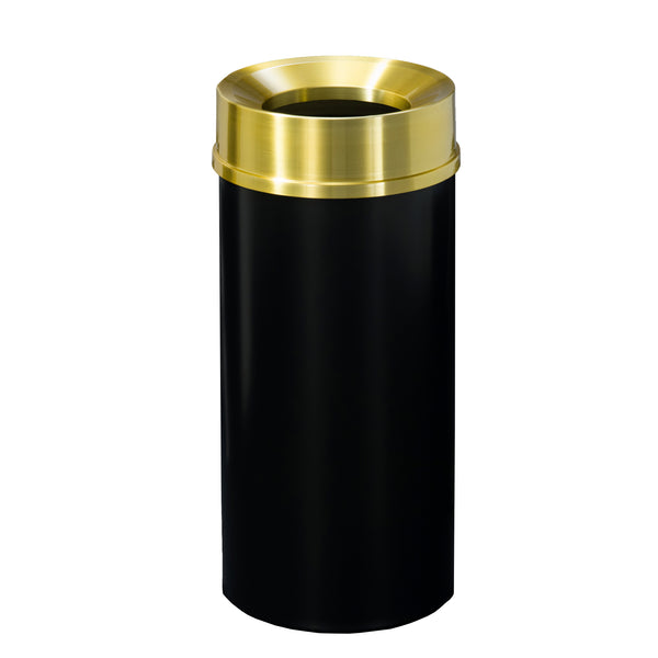 Waste Receptacle - Black/Brass - Funnel Opening