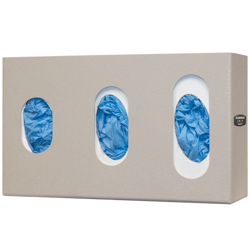 Glove Box Dispenser - Triple, with Visual Size Indicators