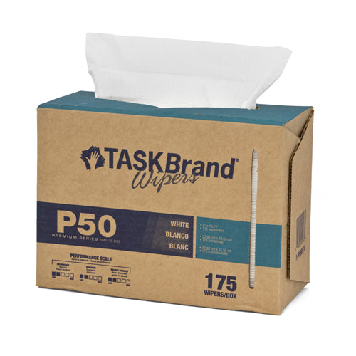 "Taskbrand P50 LD Hydrospun, 9""X16.75"", Interfold Dispenser Box, White"