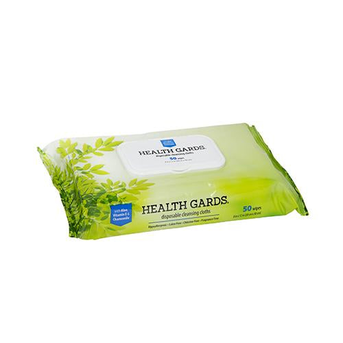 "HEALTH GARDS™  ADULT WIPE, UNSCENTED, 8"" X 12"", 50/PK; 12 PKS/CS (PM-AWSP1)"