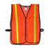"Safety Vest  Mesh Non Rated, with 1"" Reflective Stripe in Green or Orange"