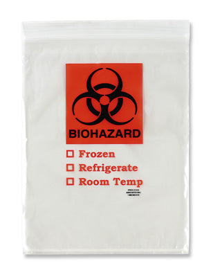 "8"" x 10"" Specimen Zipper Bag with Pouch and Biohazard Message (2 mil)"