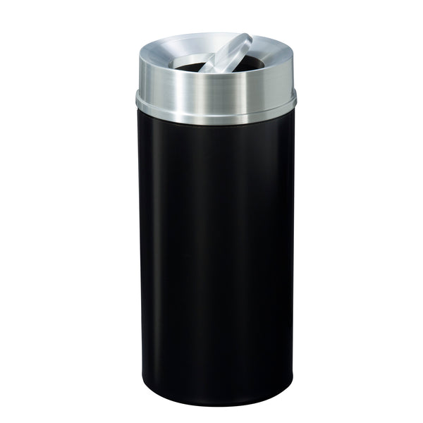 Waste Receptacle - Black & Satin Aluminum -Tip Action