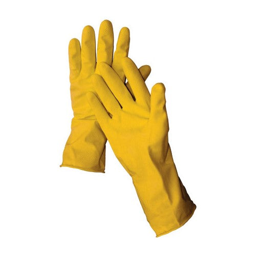 "12"" Latex Yellow Flock Lined Glove 16 mil (GL-116L)"