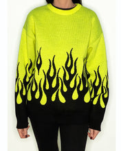 Load image into Gallery viewer, Behind the scenes Neon Flame sweater