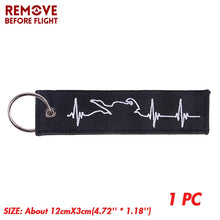 Load image into Gallery viewer, REMOVE BEFORE FLIGHT Chain Keychain Launch Key Chain Bijoux Keychains for Motorcycles and Cars Black Key Tag Embroidery Key Fobs