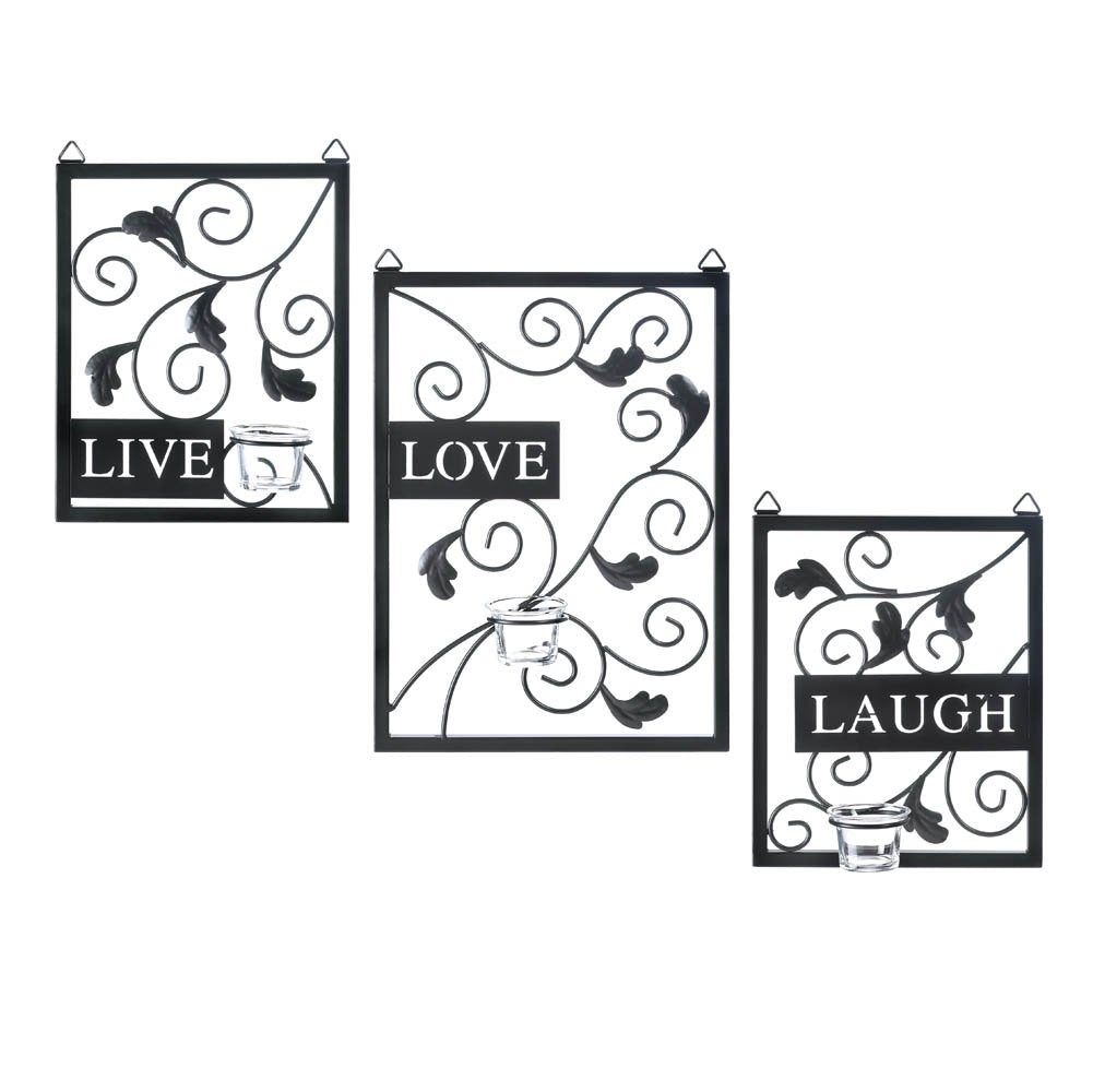 HomeAce™ Live, Love, Laugh Metal Wall Decor Art Candleholder Plaques