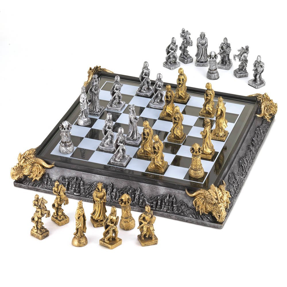 DragonCrest ™ Medieval Knights Chess Set - Glass Chess Board