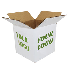 8x8x8 Printed White Shipping Boxes 50 pcs - ZebraBoxes.com
