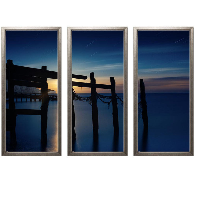 "00:01 Triptych Smith & Co Galleries 74"" x 50"" Warm Silver 5mm Luxe Floated - Strivezy"