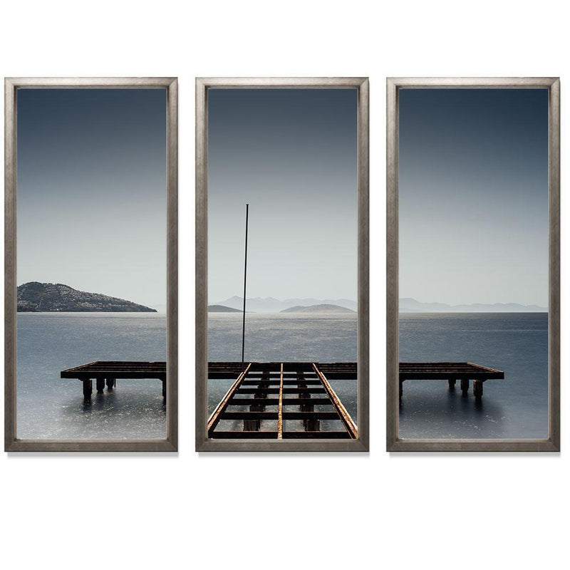 "11:59 Triptych Smith & Co Galleries 74"" x 50"" Warm Silver 5mm Luxe Floated - Strivezy"